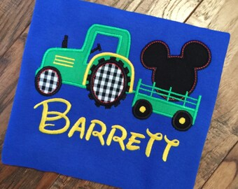 Boys Tractor wth Mickey Silhouette