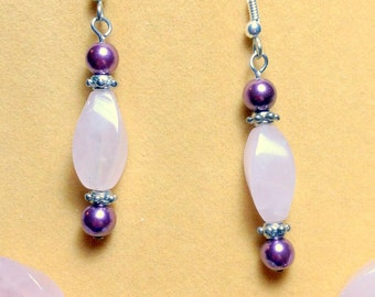 Rose Quartz and Fushia Pearl Earrings / Gemstone Earrings / Dangle Earrings / Long earrings