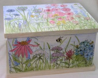 Garden Flower Painted Furniture Chest Box Custom Made
