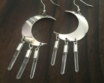 Crescent Moon Quartz Crystal Earrings Silver Charm Dangle Ear Jewelry Raw Rough Natural Clear Point Half Hoops