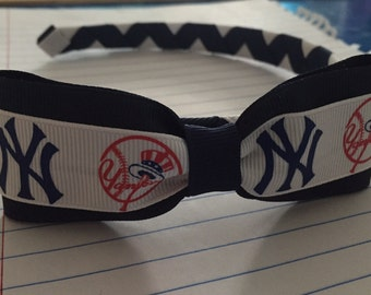 NY Yankee Baseball Logo Ribbon Woven Headband with Attached Bow - New York Team - Stand Out In The Crowd