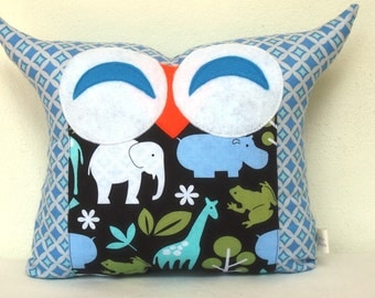 Smile owl pillow/sky blue /Animal  garden owl pillow/for him/for baby gift /Express shipping to US