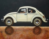 163 VW Beetle - folded art card 15x15cm/6x6inch with envelope