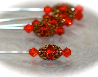 Set of Three Victorian Style Stick Pins. Ruby Red Stickpins - Scrapbooking Supply - Hatpin - Corsage Pins