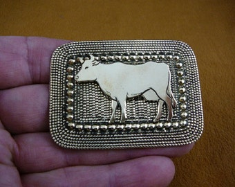 Cow love dairy cows farm bovine on dot textured rectangle Victorian BRASS pin pendant brooch B-COW-1