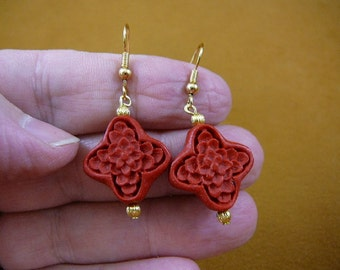 Earrings red FLOWER shape CINNABAR pierced French wire wood carved bead beads EE400-37
