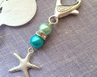 Starfish, party favor, event, key chain, zipperpull. SET of TEN. Choose color.