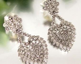 Vintage FAUX MARCASITE HEART Earrings Pierced Dangle Silver Tone Designer Signed