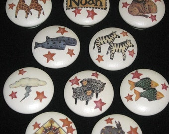 REaDY To SHiP - Set of 10 NOAH'S ARK KNoBS - Hand Painted