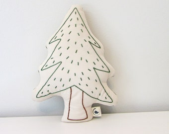 pine tree shaped pillow, tree cushion, plush tree, woodland nursery decor