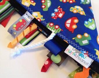 Tag Blanket   Sensory Toy   Lap Blanket   Tags   Lovey   Mini Cars on Navy