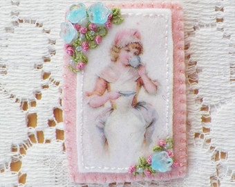 Handmade Light / Pastel Pink Brooch / Pin / Broach, Vintage Image Young Lady Drinking Tea, Blue Flowers, Pink Roses Embroidery, Tea Gift