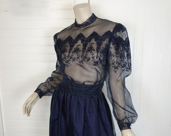 70s / 80s Silk Prairie Blouse & Skirt in Midnight Blue- 1970s Victorian Inspired- Boho / Hippie