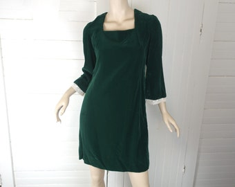 60s Mini Dress in Green Velvet- 1960s Mod / Boho / Hippie / Festival- Bell Sleeves