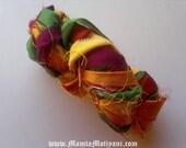 Sari Silk Ribbon, Weaving Yarn, Multicolored Recycled Sari Silk Ribbon, Recycled Sari Yarn, Ribbon Yarn, Recycled Sari Silk Ribbon, Art Yarn