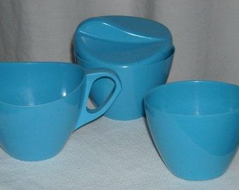 vintage robin's egg blue melamine set