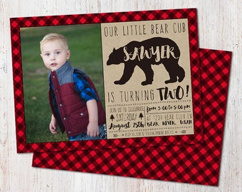 Lumberjack/Bear Cub/Buffalo Plaid/Custom/Birthday Invitation/Red Plaid/First Birthday/Rustic Forest Invite