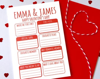 Valentine's Activity Card – Personalised Valentine's Day Card – Card for Husband wife boyfriend girlfriend – Activity card for husband wife