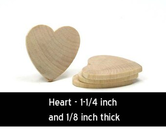 Unfinished Wood Heart - 1-1/4 inches tall by 1-1/4 inches wid and 1/8 inch thick (WW-WH1212)