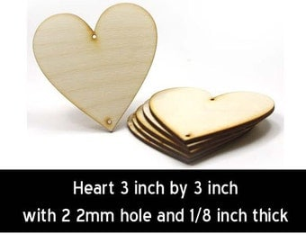 Unfinished Wood Heart - 3 inches tall by 3 inches wide and 1/8 inch thick with 2 2mm hole wooden shape (HART73)