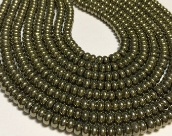 Whole strand PREMIUM Pyrite Rondelles whole strand