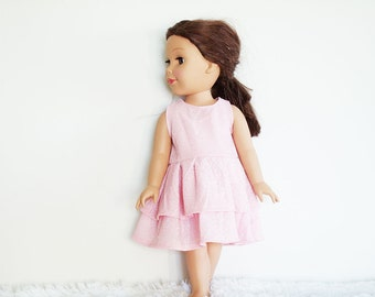 "Doll Party Dress, 18"" doll dress, pink doll dress, pink with silver flecks doll dress, 18 inch doll clothes, ruffled dress"