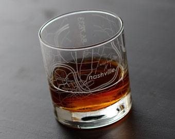 Nashville Map Rocks Glass