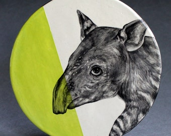 Hand Painted Baby Tapir Portrait Wall Tile Chartreuse