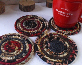 Black, Brown, Tan and Red Coiled Fabric Coasters - Set of 4 Absorbent Coasters - Handmade by Me