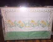 Vintage pillowcases embriodered pillowcases green and yellow dafadil floral Shabby Cottage original packaging  Farmhouse