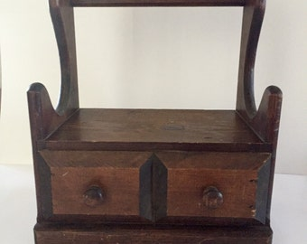 Vintage Handcrafted Wood Sewing Box
