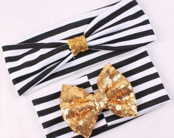 Gold polka dot knotted tie headband