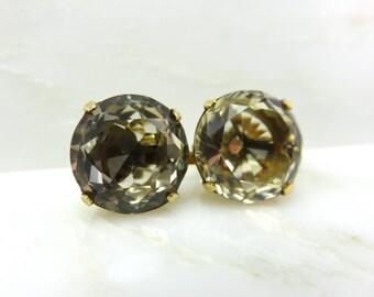 20% off Sale:  Originally 1,060.  Circa 1960's Round Brilliant Cut Citrine Earrings set in 14KT Gold