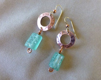 Ancient Roman Glass and Copper Earrings