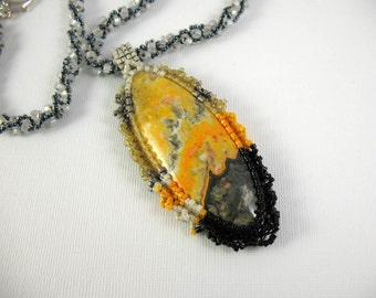 Embroidered Bumblebee Jasper Pendant on Woven Bead Necklace