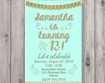Digital Aqua and Gold Glitter Birthday Girl Fancy Party Invitation Personalized Printable Any Age