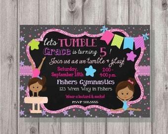 DIGITAL Gymastics Tumbling Glitter & Chalkboard Stars Birthday Girl Party Invitation - African American