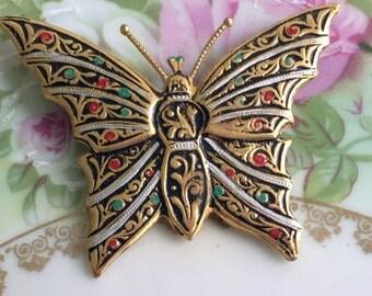 Vintage Damascene Enamel Gold tone Butterfly Brooch Made in Spain