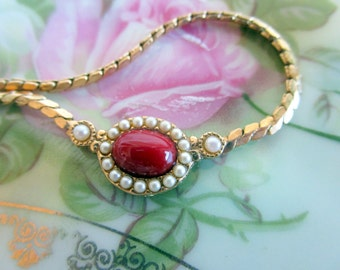 Vintage 1928 Brand Necklace Red glass pearl choker