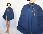 Vintage Military Inspired Cape / Nautical Sailor 60s Mod Jacket / 1960s Poncho / Navy Blue / Overcoat /  Small  / Medium / Large