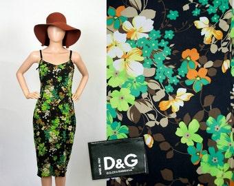 Vintage Dolce and Gabbana Silk Dress / 90s D&G Floral Dress / 1990s Designer Summer Flower Print / Corset Slip Dress Sundress / Extra Small