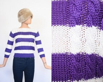 Vintage Fitted Sweater / Cable Knit Sweater / Striped Top / Purple & White Jumper Shirt / Extra Small / Small