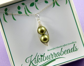 Peas In A Pod, Peas In A Pod Necklace, Two peas In A Pod, Silver Pea Pod, Choose Your Colors, Gift Boxed  Necklace
