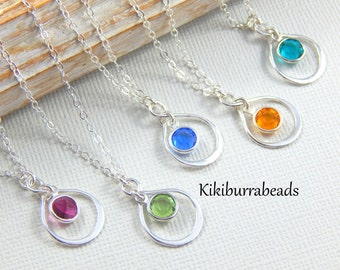 Birthstone Infinity Necklace, Personalized Necklace, Birthday gift, Bridesmaids necklace