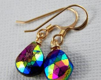 Garnet Earrings, Mystic Garnet Earrings, Wire Wrapped Earrings, Gold Filled