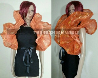 Pumpkin Cosplay High Dramatic  Burlesque Orange foil thread Net Bolero Shrug