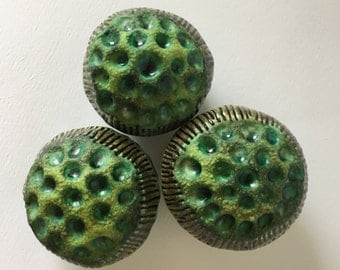 Three Matte Green and Glossy Green Flower Pods Garden Art Trio 2