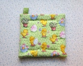 green and yellow easter chicks insulated potholder