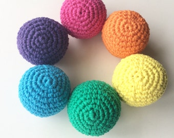 Crochet Ball Rattle Toy- Bright Rainbow colors- Set of 6- infant/ toddler toy- Easter gift