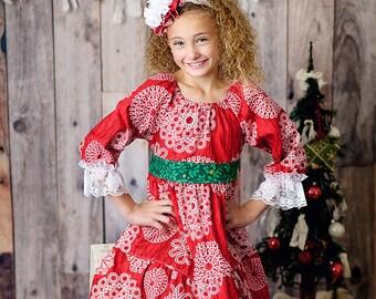 SALE- RTS-Girls Classic Christmas Peasant Dress - by Melon Monkeys - 2016 Winter